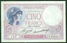 FRANCE 5 FRANCS VIOLET du 5/1/1933 ETAT: TTB+  # H52324