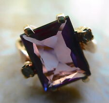 Vintage 14K Gold RING W Large SQUARE Amethyst Purple Stone Weight 2 GR Size 6