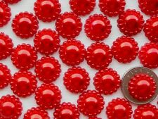 "100! Red Pearl Flower Flatback Embellishments - 12mm/0.4"" Craft Pearls"