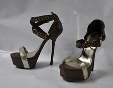 "Bebe brown high heel strappy sandal - Size 10, w/6"" heel , 2"" platform"