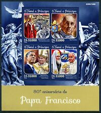 SAO TOME  2016 80th BIRTH ANNIVERSARY OF POPE FRANCIS SHEET  MINT NH