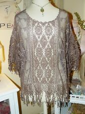 PRETTY ANGEL Boho VINTAGE CHIC Romantic MOCHA BROWN CROCHET LACE Blouse TOP L-XL