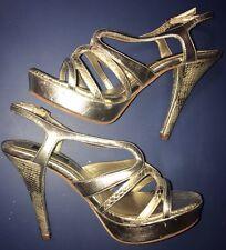 White House Black Market Karley Nude Golden Stiletto Platform Heels Sz 7 M