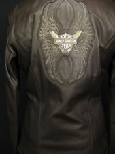 Harley Davidson Brown Leather Military Style Lined Womens Jacket Medium $475