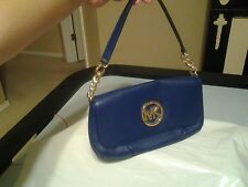 MICHAEL KORS BLUE LEATHER ORGANIZER SHOULDER HANDBAG