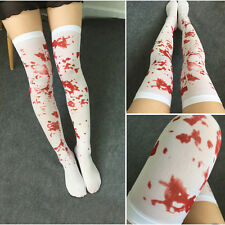 White Bloody Blood Stained Hold Up Stockings Socks Halloween Zombie Fancy Dress