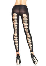 Leg Avenue 7331 Shredded Back Opaque Footless Tights (Black;One Size)