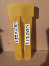 (2) Two Orabrush Tongue Cleaner Travel Case-Yellow