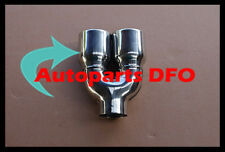 """2.3"""" inlet Stainless double round outlet slanted rolled Exhaust Tip 8.5"""" long"""
