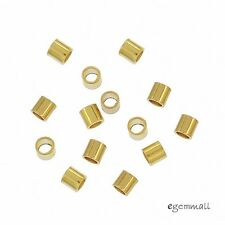 100x 18kt Gold Plated Sterling Silver Tube Crimp Spacer Beads 2x2mm #97482