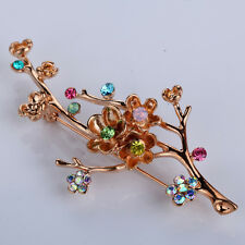 Charms Gold Plated Fashion Rhinestone Crystal Brooch Pin Women Jewelry
