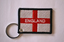ENGLAND ST GEORGE FLAG EMBROIDERY KEYRING EMBROIDERED PATCH KEYCHAIN CHROME RING