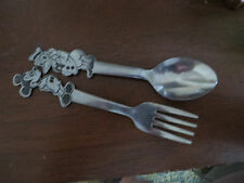 Disney Mickey Mouse Donald Duck Childs Fork & Spoon Bonny Japan metal SS