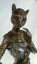 Egyptian Statue Cat Goddess Bast Bastet with Panther Familiar #WU76880A4