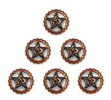 """CONCHOS LOT OF 6 COPPER STAR BRONCO RIDER WESTERN RODEO LEATHER 1 """" NEW"""