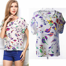 Fashion Women Blouse Sheer Chiffon Top Casual Batwing Short Sleeve Loose T-Shirt