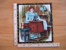 "Nostalgic Lady Sewing Machine Blue  Cotton Quilt Fabric Block 10 3/4"" x 9 1/4"""