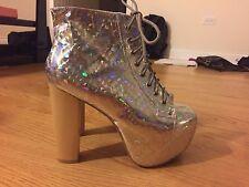 Jeffrey Campbell 7.5 hologram lita heels boot