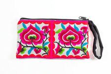 White Hmong Purse Hill Tribe Coin Pouch Thai Ethnic Embroidered Boho Bohemian