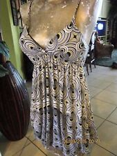 Cutest!Black-White-Yellow Sundress Spandex Size S? No Tags Max Rave Lined