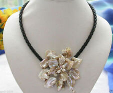 """Stunning Handmade Freshwater Pearl Sea Shell Flower Black Leather Necklace 18"""""""
