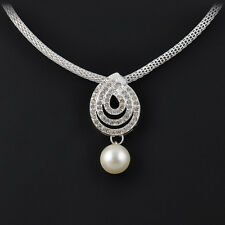 1Set Jewelry Noble White Pearl Earrings Crystal WaterDrop Snail Pendant Necklace