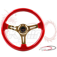 "Ryanstar 350mm 14"" Racing Gold Spokes Red Steering Wheel With Horn Button"
