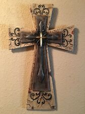 "Triple Design Wood & Iron Large 18"" x 11"" Wall Cross With Scrolls Distressed NEW"