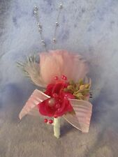 Pink White silk flower Rose boutonniere corsage bridal wedding prom ball