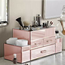 NEW! DELUXE MAKEUP ORGANIZER - ROSE GOLD MIRROR TIERED 3 DRAWER COSMETIC DISPLAY