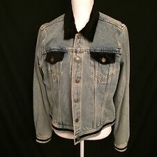 Denim Jacket Distressed Velour Trim Newport News Jeanology Collection