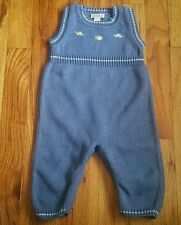 Kissy Kissy 3-6 months baby boy blue knit overalls dinos pattern EUC winter warm