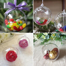 5Pcs Christmas Decoration Clear Plastic Balls Transparent Open Bauble Ornament