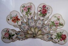 Vintage Victorian Valentine Fan w/ Roses In Hearts On Each Arm *