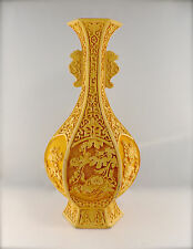 "Antique Chinese Rare Imperial Yellow Cinnabar Lacquer Lobed Vase 12"" x 5"""