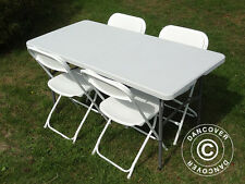 Table Chairs set Folding Banquet Table(150)+ 4 Chairs Party Dining Garden Picnic