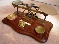 VERY NICE WELL LOOKED AFTER Antique Desktop Mordan Brass Postal Scales + Weights