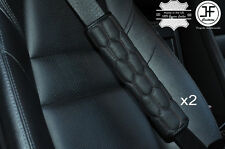 2X HEX BLACK STITCHING LEATHER LUXURY SHOULDER SEAT BELT PADDED PADS HARNESS