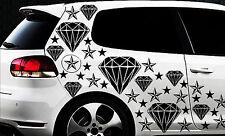 93-teiliges Diamant Sterne Star Auto Aufkleber Set Sticker WANDTATTOO Blumen x