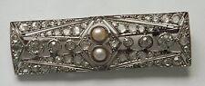 Art Deco Platinum 2ct Rose Cut Diamond 1920s Pearl Bar Brooch Pin