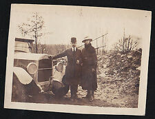 Old Antique Photograph Man and Woman Standing By Antique Car Automobile