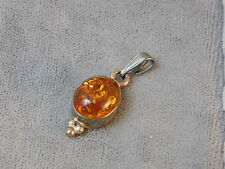 Sterling Silver 925 Golden Honey Amber Oval Cabochon Pendant 4i 74