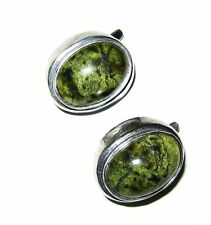 ANTIQUE large Jade Nephrite Cabochon Earrings Sterling Silver art deco europe