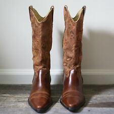 Vintage Vero Cuoio Cognac Leather and Textile Cowboy Boots Size 8