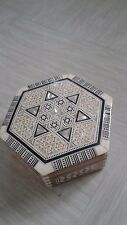 vintage inlaid mother of pearl wooden jewellery box