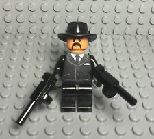 Lego New Tuxedo Criminal / Mob Gangster Boss Mini Figure With X2 Tommy Gun