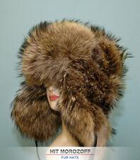 BIG Russian Chapka Ushanka RACCOON FUR Winter Hat Pelzmütze Fellmütze Waschbär