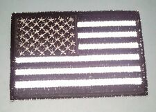 "(B24) REFLECTIVE BLACK & WHITE USA FLAG 3"" x 2"" iron on patch (3270) Cap"
