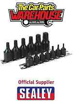 "Sealey 1/4"" & 3/8"" Drive T10-T60 Trx-Star Impact One Piece Socket Bit Set Rail"