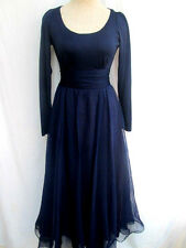 VTG 70's..MISS ELLIETTE..NAVY BLUE..CHIFFON..SCOOP NECK..MAXI..DRESS..sz S